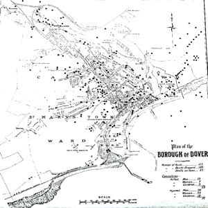 Map of Dover showing the number and where the town was bombed and shelled in World War I and the number of fatalities and injuries. Dover Library