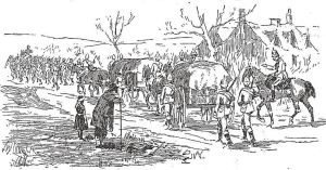 Volunteers Marching Column with Transport Waggons - Penny Illustrated 28.03.1891