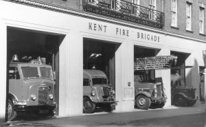 Rosetta third from left, Dover's Fire engines in 1951 left to right Commer 21A, 1941 Fordson, Rosetta and Austin K2 - John Meakins collection Fire Fighting in Kent