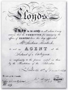 Lloyds Agents certificate. Lloyds of London