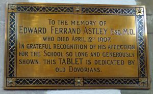 Edward Ferrand Astley Memorial tablet, Dover College chapel.