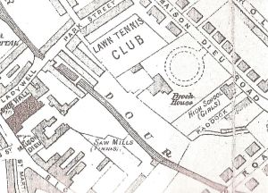 Brook House & Finnis Saw Mill 1890. The Electricity Station was built on the site of the Lawn Tennis Club, Park Street