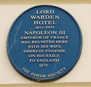 Dover Society plaque on Lord Warden House marking Napoleon III's stay there.