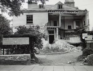 Dr Annie Brunyate's home and centre of the early Dover women's suffrage campaigns in Effingham Crescent following shell attacks in World War II. Dover Library