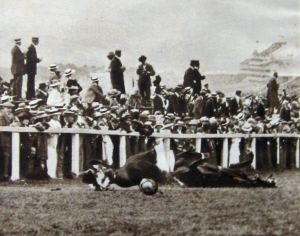 Emily Davison falls under King's horse, Anmer, at the Derby 1913