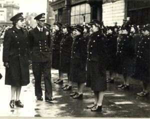 Female Fire Officers inspected by George VI October 1944. Dover Museum
