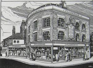 Flashman's advert circa 1930, Note the extensive premises and their proclamation on the wall.