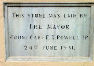 Foundation Stone of the Fire Station in Ladywell by Mayor Capt. Frederick R Powell, 24 June 1931.