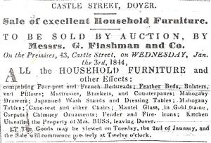 George Flashman 43 Castle Street advert. Dover Telegraph 30.12.1843