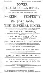 Imperial Hotel Woolcomber Street sale notice 1873. Dover Library