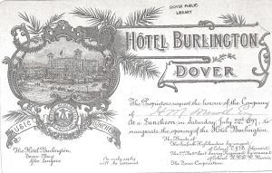 Invitation addressed to Henry Martyn Mowll to the pening of the Burlington Hotel 1897 - Dover Library