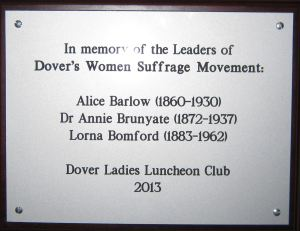 Dover Ladies Luncheon Club - Plaque dedicated to the leaders of Dover Women's Suffrage