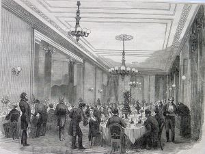 Lord Warden Hotel dining room c1861. Dover Library