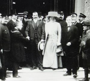 Louis Bleriot on the steps of the Lord Warden Hotel prior to the reception organised on his behalf, 26 July 1909. Dover Library