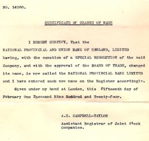 National Provincial & Union name change to National Provincial 1924