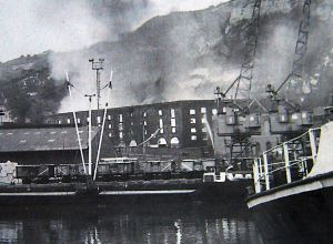 The devastating fire at the Oil Mills. May 1965