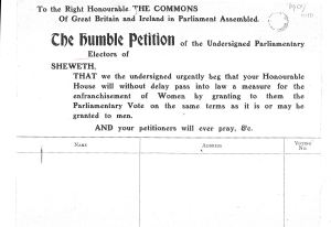 Dover Ladies Suffrage Petition January 1909. Dover Library