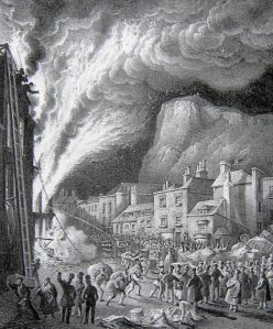 Snargate Street Fire 11 May 1837 drawing by W Reith. Dover Library