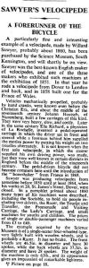 Times 23.04.1937 p4 telling of the acquisition by the Science Museum of Willard's velocipede