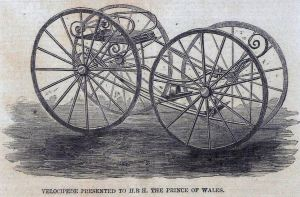 Velocipede presented to Edward, Prince of Wales. Illustrated London News 17.04.1858 p404