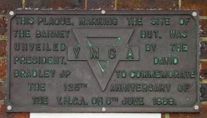 YMCA 125th anniversay plaque former site of the Barnet Hut, Gateway garages Townwall Street 6 June 1969