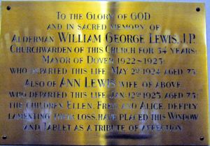Dedication plaque to William George Lewis 1850-1924 and his wife Ann in St Andrew's Church, Buckland. LS