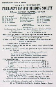 Dover and District Permanent Building Society advert c1870s