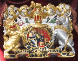 The coat of arms of William III and Mary II erected in St Mary's Church, Dover c1688 and can still be seen there. LS