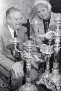 Fector Silver Candelabra, left Cllr. Bill Newman Mayor 1992-1993 and right the author