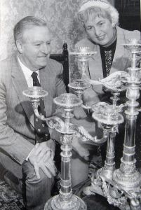 Silver Candelabra from the Fector collection. Left Mayor Bill Newman Mayor 1992-1993 right LS