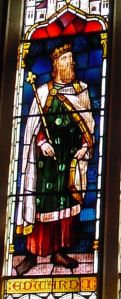 Edward I, detail from the Finnis window, Council Chamber, Maison Dieu. Alan Sencicle