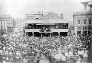 Election hustings in the Market Square 1871. Dover Museum