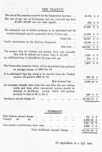Estimated costs of the Viaduct scheme 13 January 1912