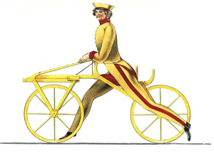 Laufmaschine invented by Baron Karl Drais from  the original Patent Papers 1817. Scotford Lawrence