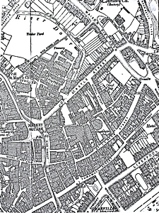Map of 1890 showing the density of the housing in central Dover, that had not changed much by the time of the Inquiry.
