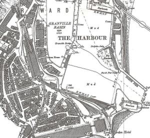 Map showing the location of Harbour Station, in the Pier District, with the Harbour 1890