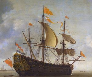 Naseby renamed the Royal Charles after the Restoration in 1660. Detail from painting by Jeronymus van Diest