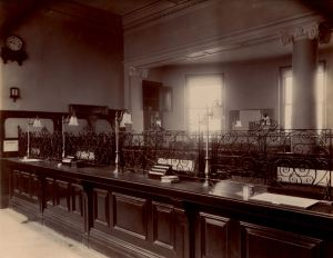 National Provincial Bank, New Bridge House c1893 -1910, note the Dover Hospital collection box on the counter. Reproduced by kind permission of The Royal Bank of Scotland Group © 2013