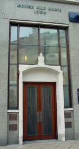 NatWest Chamber door, Market Square, above which is the citation on Dover's oldest bank . Alan Sencicle