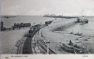 Postcard circa 1900 showing the two railway lines joining on Admiralty Pier. Note the boat builders to the right and the steamer tied up on outside of the Pier