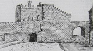 Sketch of the now demolished Butchery Gate with Steadfast Tower, Townwall Street