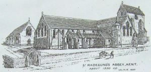 St Radegund's Abbey artist impression of what that Abbey may have looked like in 1350