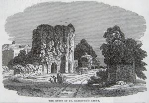 St Radegund's Abbey ruins - The Saturday Magazine 25.03.1837 see photo below left