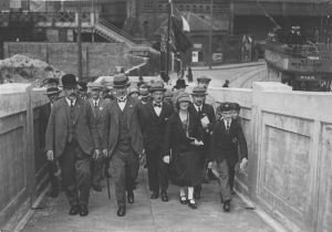 Opening the associated Strond Street footbridge 1925, left Mayor Barwick next to, probably, William E Boulton Smith, the Town Surveyor and responsible for all the works. Richard Barwick