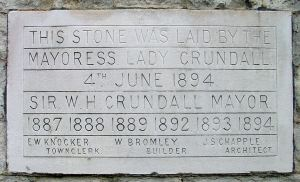 Commemorative stone of the opening of the Art and Technical school, Ladywell by Lady Crundall 04.06.1894