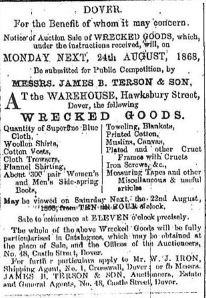 Terson's Wrecked Goods Auction 21.08.1868