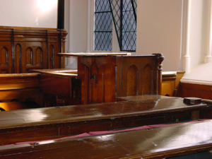 Witness box in the former Court Hall, the Maison Dieu, where the shipbuilders compensation hearings were held. Alan Sencicle