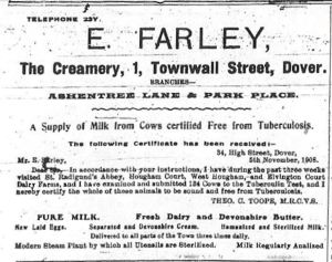 Edwin Farley dairy, 1 Townwall Street, obtained milk from St Radigund's (sic) Abbey Farm 1911