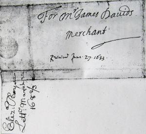 Letter from Elizabeth Boyse (Dixwell) to John Davids (Dixwell) 1683