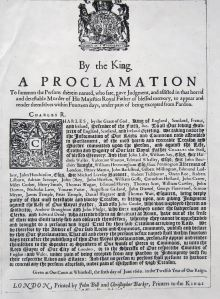 Proclamation for the arrest of those involved in the execution of Charles I including John Dixwell, Dover's Member of Parliament.